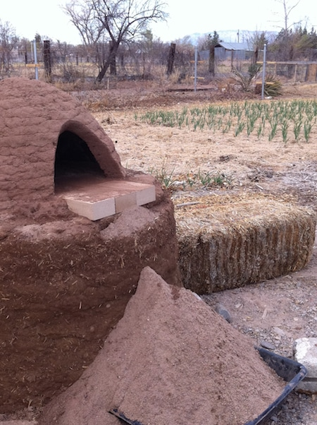 cob oven opening sand